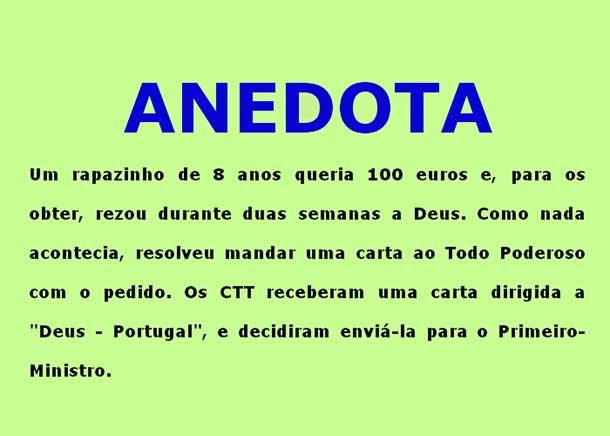 Anedota – Rapazinho envia carta a Deus a pedir 100 euros