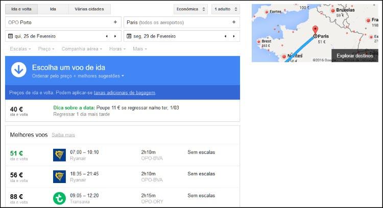 google-flights-porto-paris