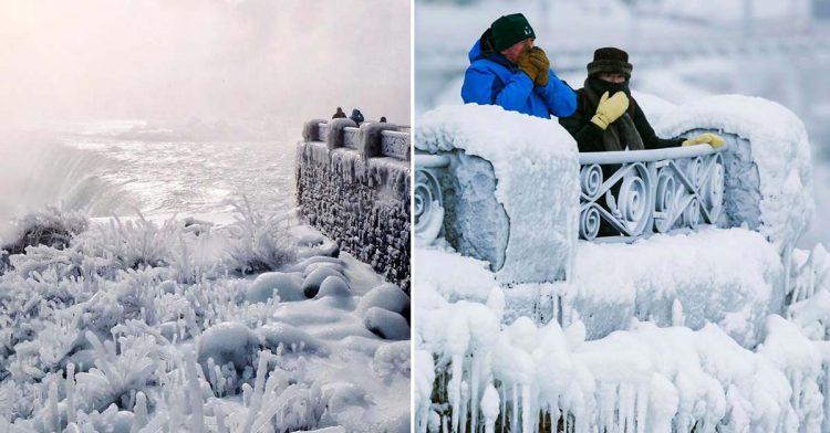 Vaga de frio na América do Norte deixa Cataratas do Niágara parcialmente congeladas, imagens espectaculares