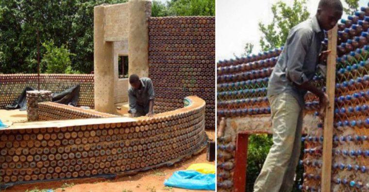 Casas construídas com garrafas de plástico são económicas, ecológicas e anti-sismos