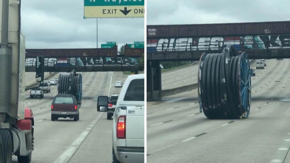 Bobine gigante de cabos eléctricos anda descontrolada em plena Autoestrada
