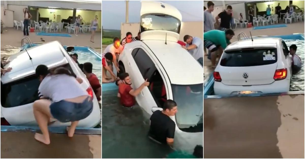Convívio entre amigos acaba com carro dentro de piscina