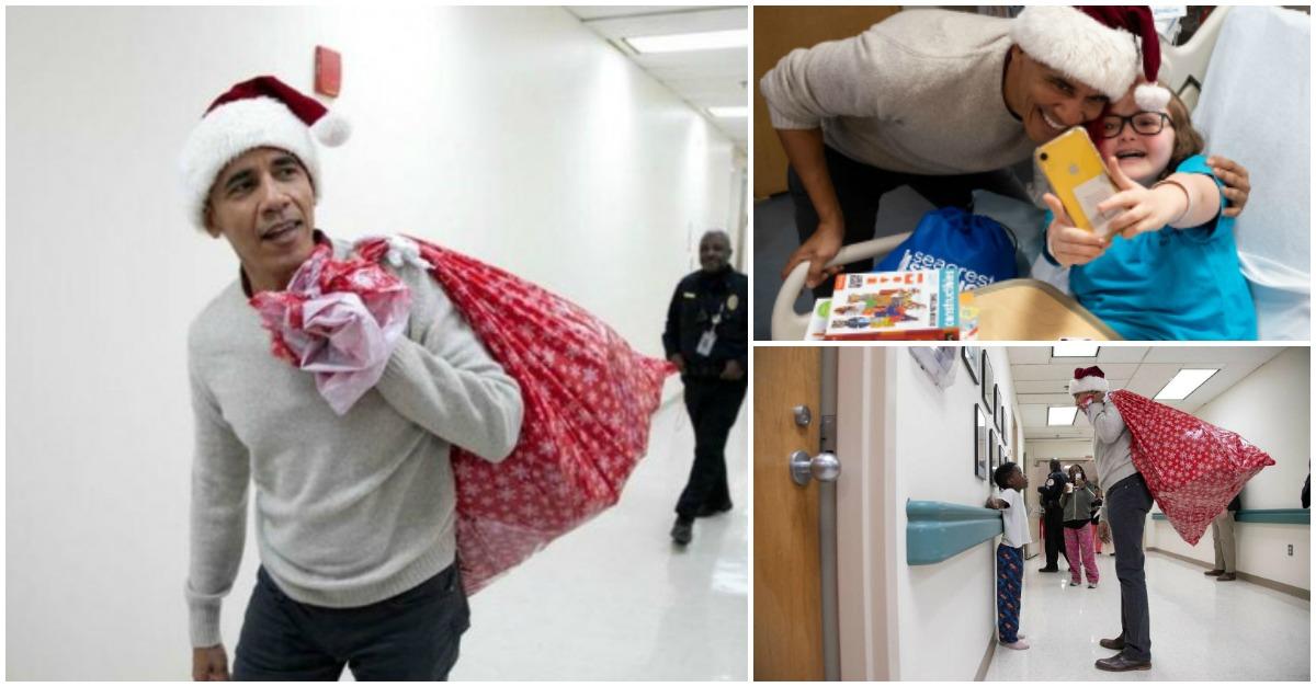 Barack Obama surpreendeu crianças internadas em hospital de Washington
