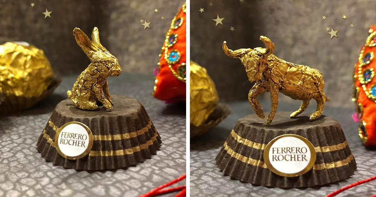 Artista chinês cria fantásticas esculturas usando apenas a película do Ferrero Rocher