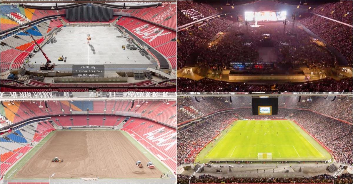 É incrível a transformação que um estádio sofre depois de concerto dos U2 em apenas 67 horas…