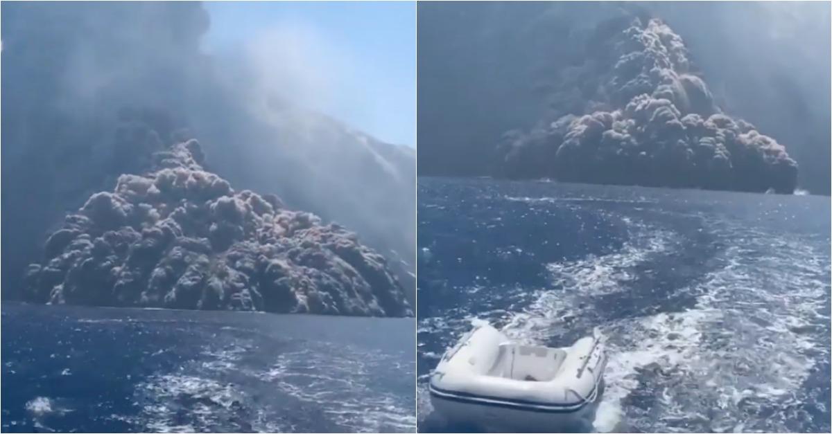 Turistas a passear de barco são apanhados por vulcão em erupção