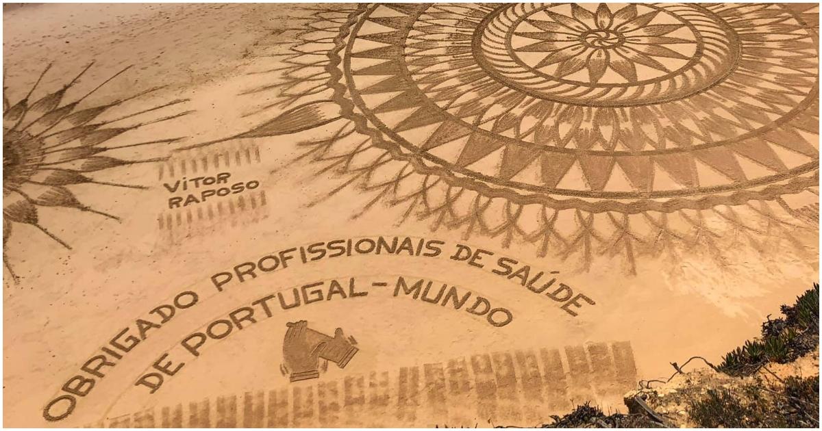 Artista Vitor Raposo desenhou bonita mensagem de agradecimento aos profissionais de saúde