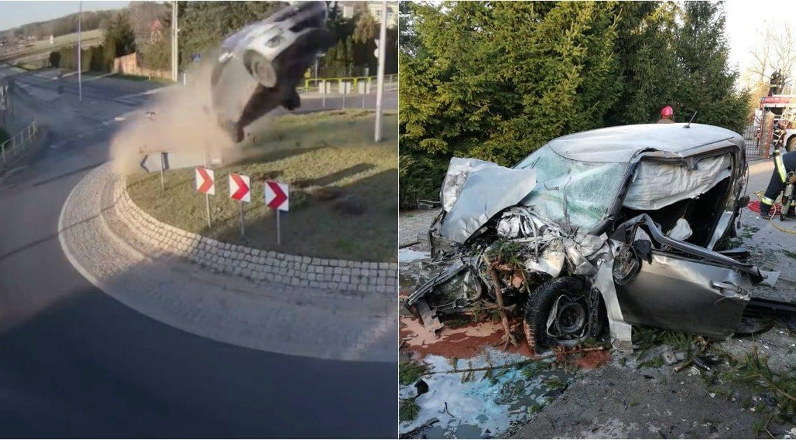 Condutor seguiu em frente numa rotundo e originou um grande salto…