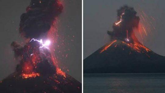 Vídeo impressionante do vulcão Krakatoa a entrar em erupção