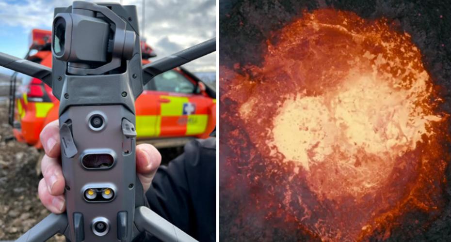 Drone capta imagens impressionantes mesmo por cima da cratera do vulcão Fagradalsfjall